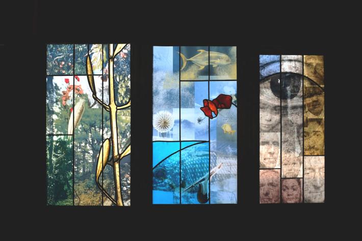 (c) Véronique ELLENA Création de deux vitraux pour le millénaire à la cathédrale de Strasbourg  (Chapelle Sainte Catherine)